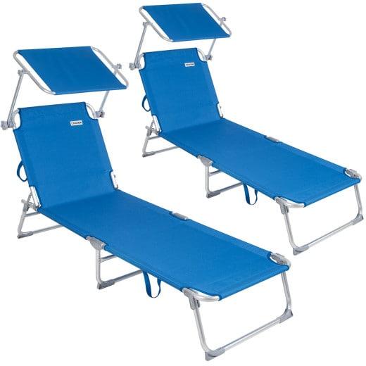 2x Chaise longue Alu Ibiza - Pare soleil intégré réglable - Couleur bleu
