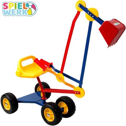 Pelleteuse excavatrice manuelle avec siège et roues pour enfants - pivot à 360°