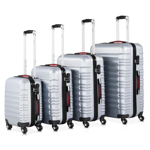 Set de 4 valises rigides argent voyages rangement bagages malle vacances