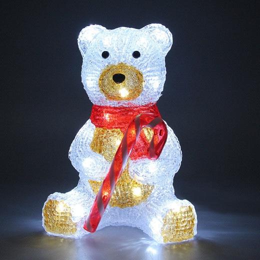 Figurine lumineuse LED acrylique décoration de Noël - Nounours assis
