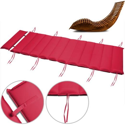 Coussin rembourré rouge pour chaise longue en bois