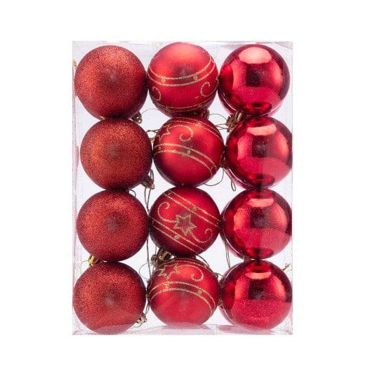 Boules de Noël Set de 24 Rouge