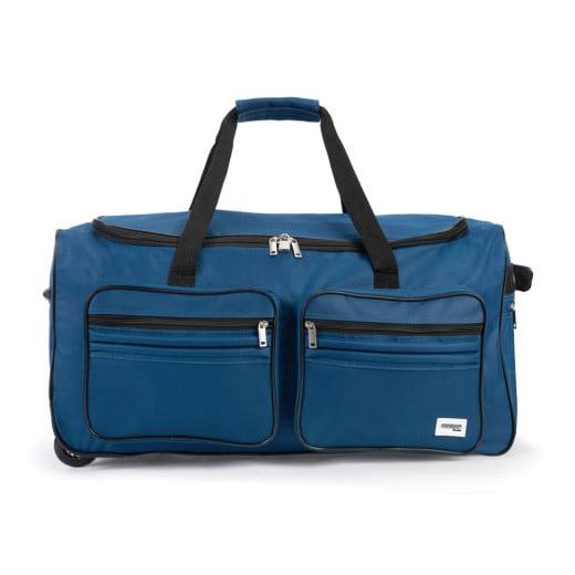 Grand sac de voyage trolley 85L avec roulettes Sac transport avec cadenas - Bleu