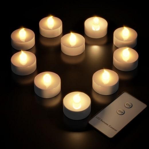 10x Bougies LED à pile avec télécommande