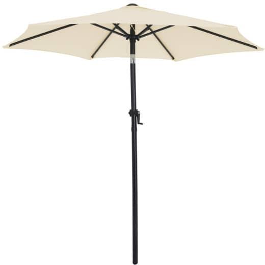 Parasol - à~ 200cm - Inclinable - Avec manivelle - Beige
