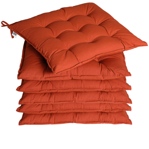 6x Coussins de chaise terre cuite fibres creuses intérieur extérieur sièges