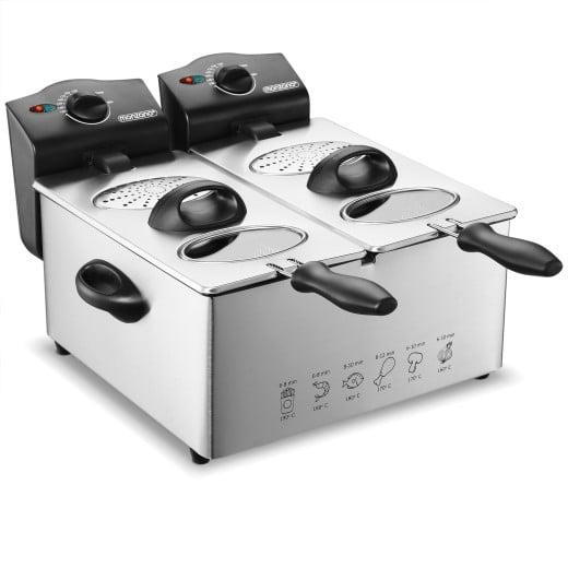 Friteuse double en acier inoxydable 2x2000 W - 2x3 Litres Friture Cuisine