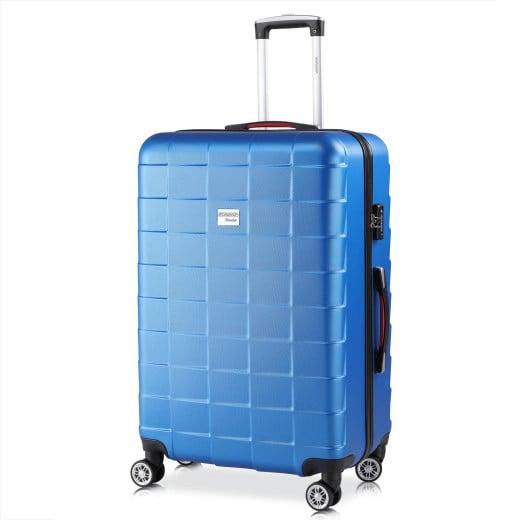 - Valise rigide Exopack - Bagage taille XL Bleu - Poignée télescopique