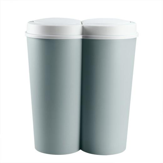 Double poubelle 2 x 25L vert Poubelle duo bouton-poussoir automatique 50 x 53 cm