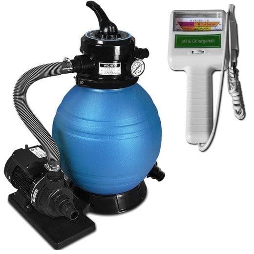 Pompe filtre à sable et particule 10200 l/h avec testeur électronique Chlore pH