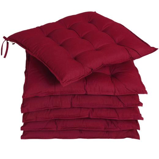 6x Coussins de chaise rouge foncé fibres creuses intérieur extérieur sièges