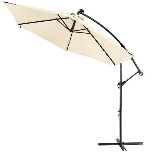 Parasol en aluminium 3m crême Haiti éclairage 24 LED protection soleil manivelle
