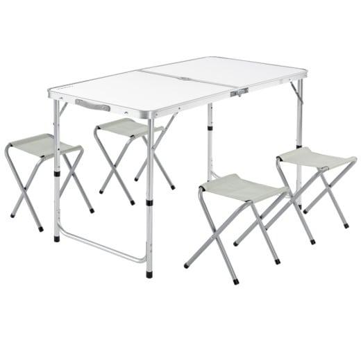 Table de camping avec 4 chaises pliantes fonction valise gris