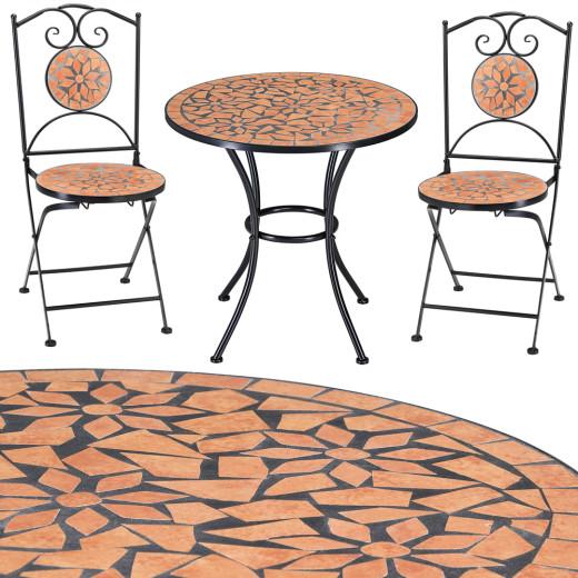 Mosaik Gartentisch Roma mit zwei Stühlen
