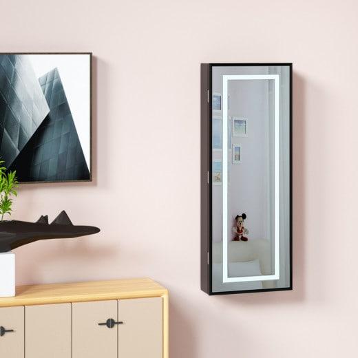 LED Schmuckschrank mit Spiegel Schwarz