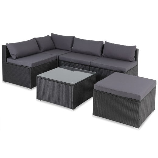 Ensemble de canapé salon 16 pièces en polyrotin - coussins 7 cm d''épaisseur