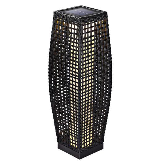 Lampe solaire de jardin en polyrotin noir 70cm