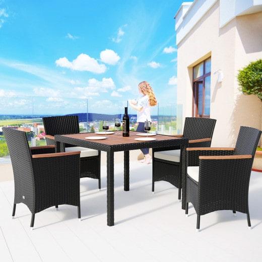 Salon de jardin en polyrotin 4 1 Noir crême Ensemble table et chaises empilables