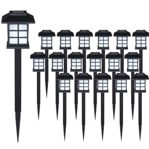 Set de 18x lampes solaires LED Lumiêre pour jardin balon terrasse