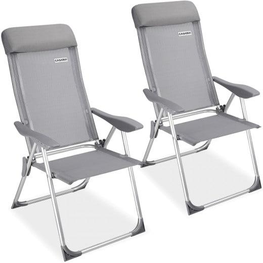 2x Chaise de jardin pliante en Aluminium - Dossier haut - Tissu anti-transpirant