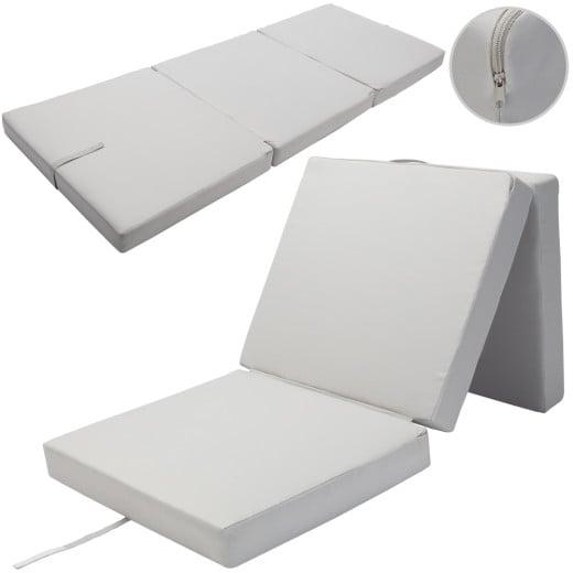 Matelas pliant gris 190x70x10cm Pliable en 3 Matelas lit - 100% Polyester