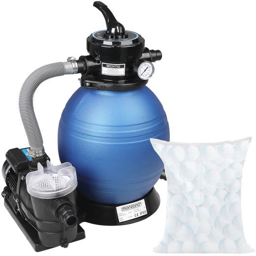 Sandfilteranlage 9.600L/h mit Vorfilter inkl. Filterbällen