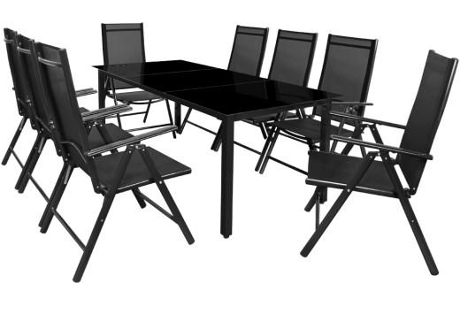 Alutisch schwarze Glasplatte, 8 klappbare Stühle