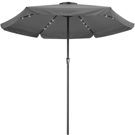 Parasol aluminium anthracite 3,3m Athênes éclairage 24 LED protection soleil