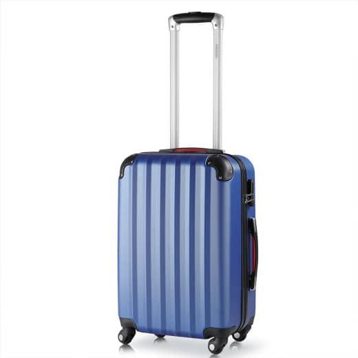 Valise rigide L bleu - Bagage cadenas Malle voyage vacances roulettes serrure