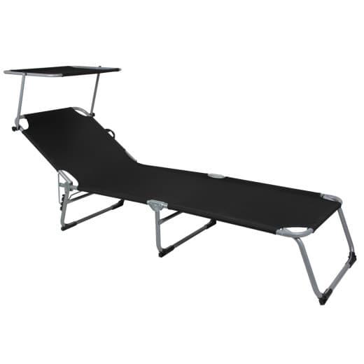 Chaise longue de jardin grise pliable avec pare-soleil