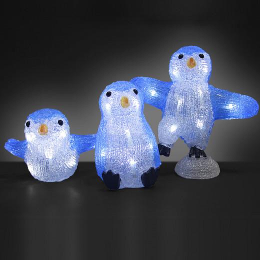 Figurines lumineuses LED acrylique décoration de Noël - Famille Pingouin