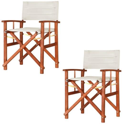 2x Chaise de jardin crème en bois eucalyptus Hollywood