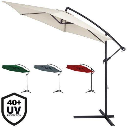 Parasol en aluminium à~ 300cm Protection UV 40 Manivelle Jardin terrasse