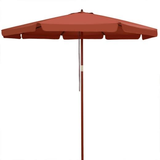 Sonnenschirm Terrakotta Holz Ø330cm UV-Schutz 50+