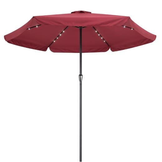 Parasol aluminium rouge 3,3m Athênes éclairage protection soleil jardin