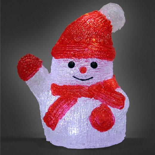 Figurine lumineuse LED acrylique décoration de Noël - Bonhomme de neige S