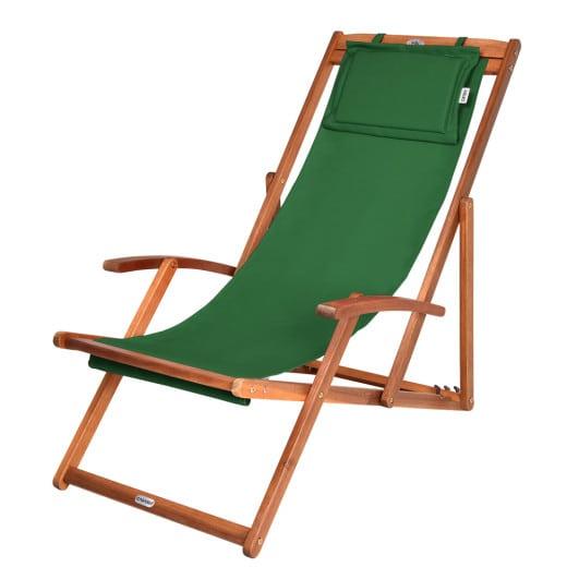 Chaise camping plage pliante en bois Tissu assise Verte coussin amovible