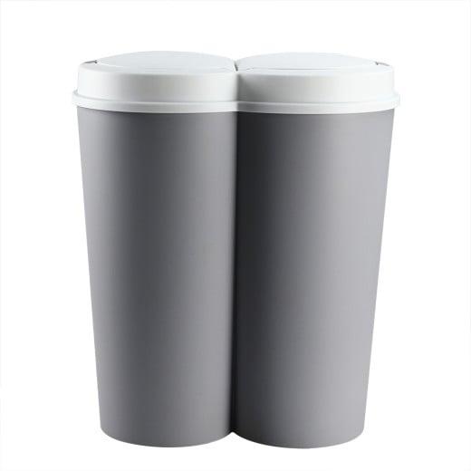 Double poubelle 2 x 25L gris