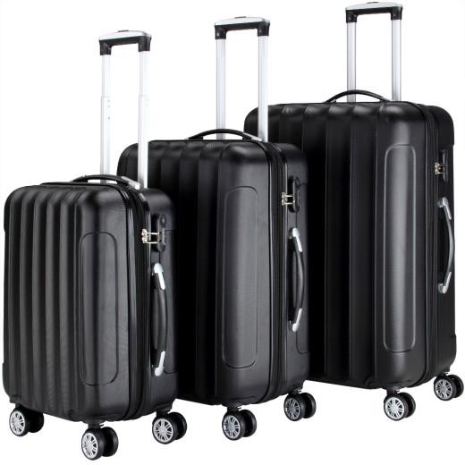 Ensemble Valise rigide Noir - 3 x bagage serrure roulettes - voyage vacances