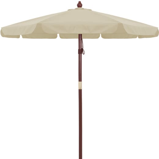 Parasol en bois crème 330cm protection solaire 50+