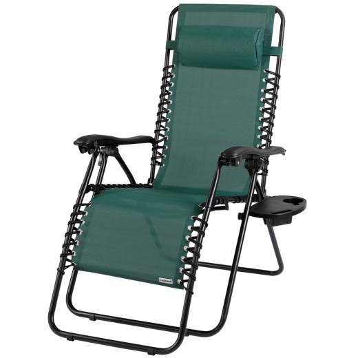 Chaise longue de jardin pliable vert - Chaise de camping Transat métal et toile