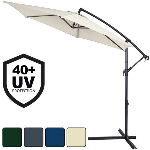 Parasol en aluminium à~ 330 cm Manivelle Protection UV Pare-soleil