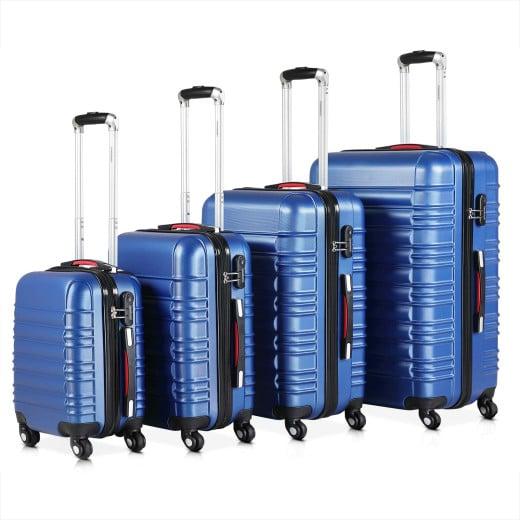 Set de 4 valises rigides bleu voyages rangement bagages malle vacances serrure