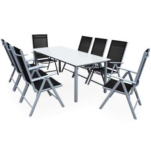 Salon de jardin aluminium argent »Bern« 1 table 8 chaises pliantes verre