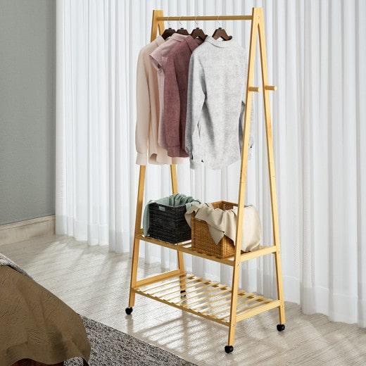 Bambus Kleiderständer mit Rollen
