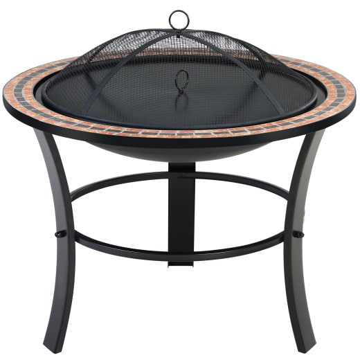 Brasero acier-mosaïque avec couvercle Ø 90 cm - Jardin terrasse feu bois charbon