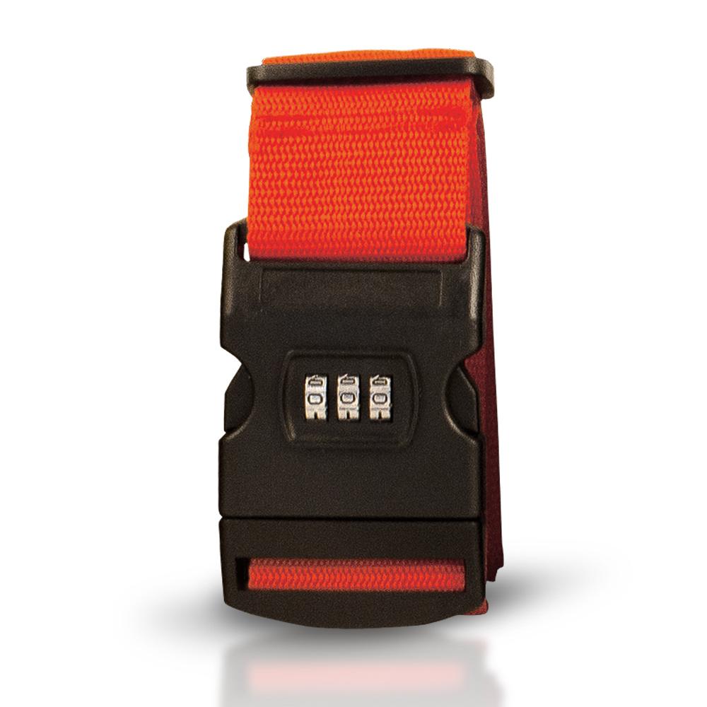 Sangle à valise rouge avec cadenas à combinaison