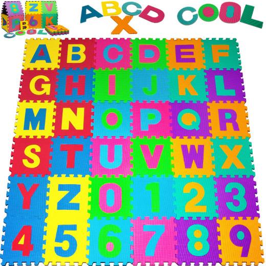 Puzzle tapis mousse 86 pièces Alphabet et chiffres 32x32