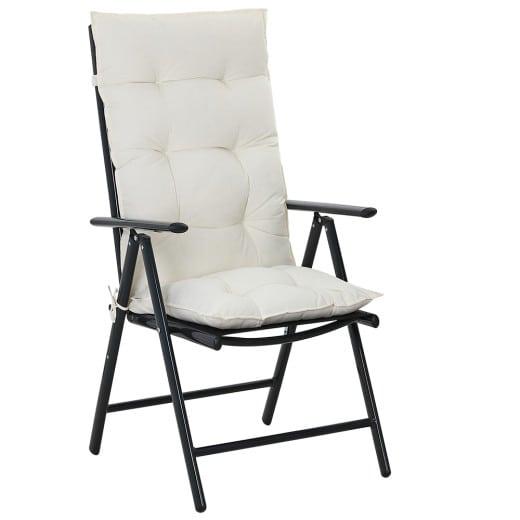 6x Coussins de chaise - 100% Polyester - Pour Chaise à dossier haut Crème