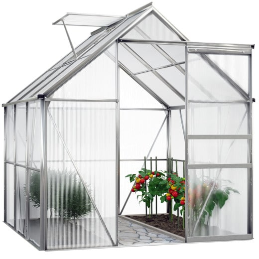 Serre de jardin en aluminium 5,85m³ avec fenêtre et gouttière
